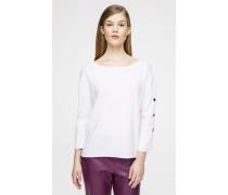 Woll-Pullover mit Zierknöpfen am Ärmel