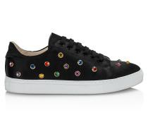 Satin-Sneaker mit Strasssteinen