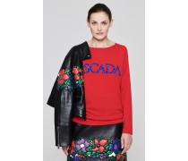 Pullover aus Wolle-Kaschmir-Mix mit Pailletten-Logo