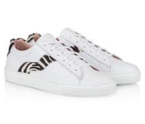 Sneakers aus Leder mit Kalbshaar-Einsatz