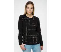 Sweatshirt mit Tweed-Einsatz