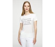 Logo-T-Shirt aus Baumwolle-Seide-Mix
