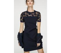 Jersey-Kleid mit Einsatz aus Spitze