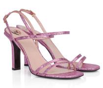 Leder-Sandalette im Metallic-Look