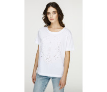 T-Shirt mit Broderie Anglaise