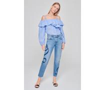 Boyfriend-Jeans mit Print