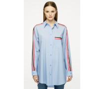 Oversize-Hemdbluse mit Streifenbesatz