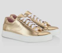 Sneaker aus Metallic-Leder