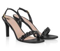 Leder-Sandalette mit Strass-Details