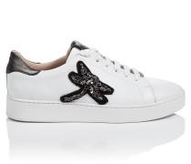 Sneakers aus Leder mit Kristallsteinen