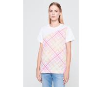 T-Shirt mit Karo-Kontrasteinsatz