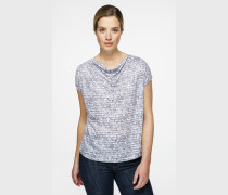 T-Shirt mit Print aus Material-Mix