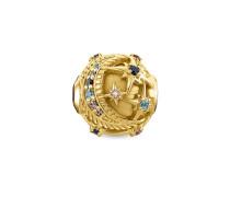 "Bead ""Royalty Stern gold"", 925 Sterlingsilber, vergoldet Gelbgold/ Glas-Keramik Stein, Karma Beads"