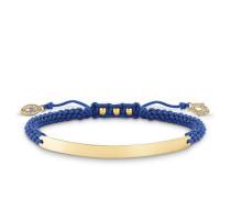 "Armband ""Blau Nazar Auge"" mit Gravur, Sterlingsilber Gelbgold vergoldet, Love Bridge"