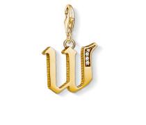Charm-Anhänger Buchstabe W gold, Sterlingsilber Gelbgold vergoldet