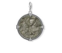"Charm-Anhänger ""Vintage Coin Farbenspiel"", 925 Sterlingsilber geschwärzt/ Labradorit/ Zirkonia"