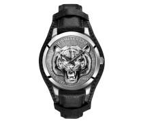 Herrenuhr Rebel Tiger 3D schwarz-silber, Edelstahl   Leder