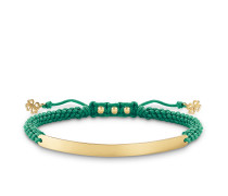 "Armband ""Grün Kleeblatt"" mit Gravur, Sterlingsilber Gelbgold vergoldet, Love Bridge"