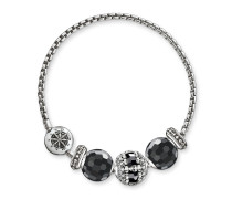 Armband, 925 Sterlingsilber geschwärzt/ Obsidian/ Onyx/ Silikon, Karma Beads