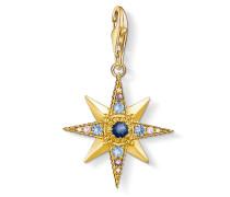 "Charm-Anhänger ""Royalty Stern"", 925 Sterlingsilber, vergoldet Gelbgold/ Glas-Keramik Stein"