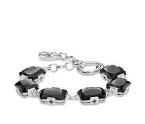 Armband Große schwarze Steine, Sterlingsilber