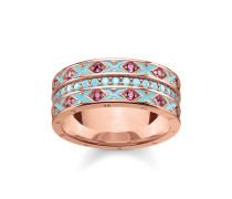 Ring, 925 Sterlingsilber vergoldet Roségold/ Glas-Keramik Stein/ Kaltemail/ synthetischer Korund, Glam & Soul
