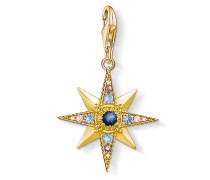 Charm-Anhänger Royalty Stern, 925 Sterlingsilber, vergoldet Gelbgold/ Glas-Keramik Stein