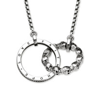 "Collier ""Totenkopf Love, Faith, Hope"", Sterlingsilber geschwärzt, Rebel at heart"
