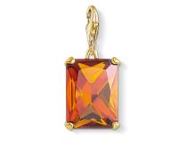 Charm-Anhänger Großer Stein Orange, 925 Sterlingsilber, vergoldet Gelbgold/ Glas-Keramik Stein