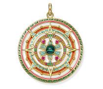 Anhänger Amulett, 925 Sterlingsilber vergoldet Gelbgold/ Glas-Keramik Stein/ imitierter Malachit/ Kaltemail/ synthetischer Korund, Glam & Soul
