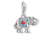 """Charm-Anhänger """"indischer Elefant"""", 925 Sterlingsilber geschwärzt/ Glas-Keramik Stein/ imitierte Koralle/ synthetischer Korund/ Zirkonia"""