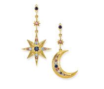 """Ohrringe """"Royalty Stern & Mond"""", 925 Sterlingsilber, vergoldet Gelbgold/ Glas-Keramik Stein, Glam & Soul"""