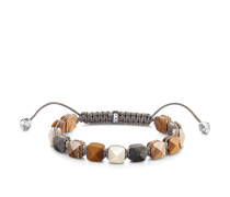 Armband braune Nieten, 925 Sterlingsilber geschwärzt/ Jaspis/ Marmor/ Nylon/ Tigerauge, Glam & Soul