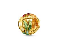 "Bead ""Libelle"", 925 Sterlingsilber vergoldet Gelbgold/ Glas-Keramik Stein/ Kaltemail/ synthetischer Korund/ Zirkonia, Karma Beads"