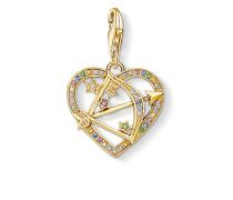 Charm-Anhänger Amors Pfeil gold, Sterlingsilber Gelbgold vergoldet