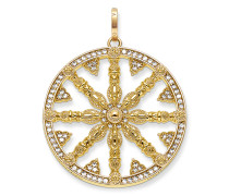 """Anhänger """"Karma Wheel Pavé"""", Sterlingsilber Gelbgold vergoldet, Karma Beads"""