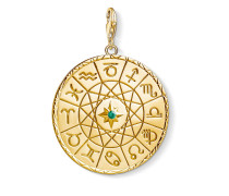 """Charm-Anhänger """"Sternzeichen Coin gold"""", 925 Sterlingsilber, vergoldet Gelbgold/ Glas-Keramik Stein"""