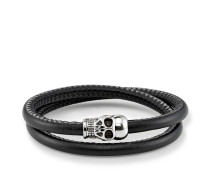 "Lederarmband ""Totenkopf"", Sterlingsilber, Rebel at heart"