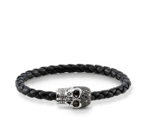 "Lederarmband ""Totenkopf Pavé"", Sterlingsilber, Rebel at heart"