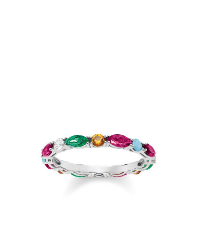 Ring, 925 Sterlingsilber/ Glas-Keramik Stein/ synthetischer Korund/ Zirkonia, Glam & Soul