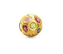 Bead Farbige Steine, Sterlingsilber Gelbgold vergoldet, Karma Beads