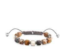 Armband, 925 Sterlingsilber geschwärzt/ Jaspis/ Marmor/ Nylon/ Tigerauge, Glam & Soul