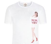 Mc 2 Saint Barth, T-Shirt aus Leinen mit modischem Print in Weiss