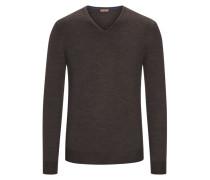 Pullover aus 100% Merinwolle in Braun für Herren