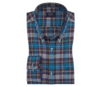 Freizeithemd im Überkaro, mit praktischer Brusttasche in Blau