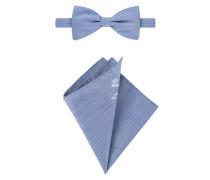 Modisches Accessoires-Set, mit Fliege und Einstecktuch in Blau für Herren