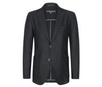 Leichter Jersey-Blazer im Baumwoll-Leinen-Mix in Schwarz