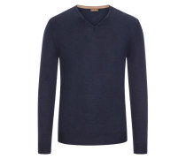 Pullover mit Ärmelpatches, 100% Merinwolle in Navy