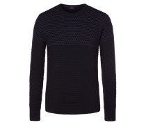 Pullover, O-Neck, in melierter Optik in Marine