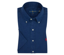 Kurzarm-Leinenhemd, Slim Fit in Marine